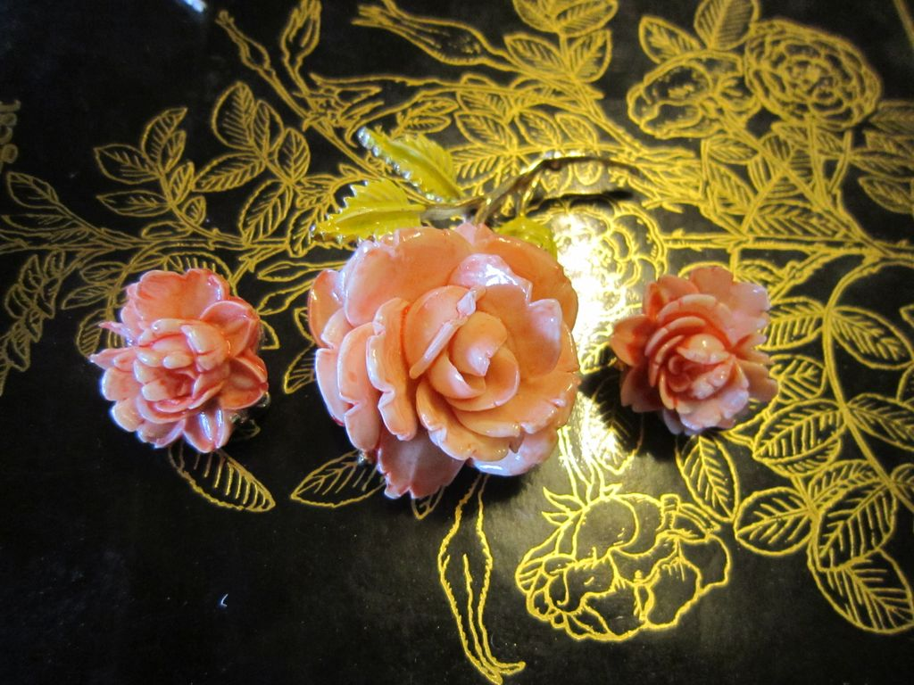 Pell Rose Brooch and Earrings