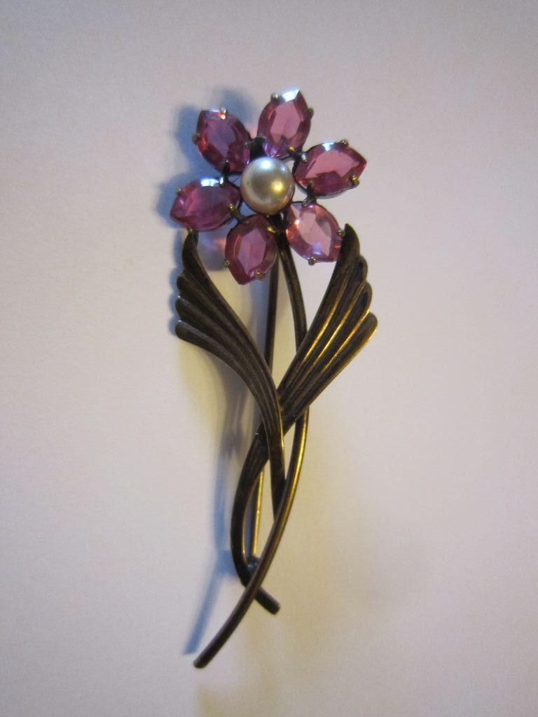 Symmetalic Pink Rhinestone Flower  Sterling GP14K  Brooch