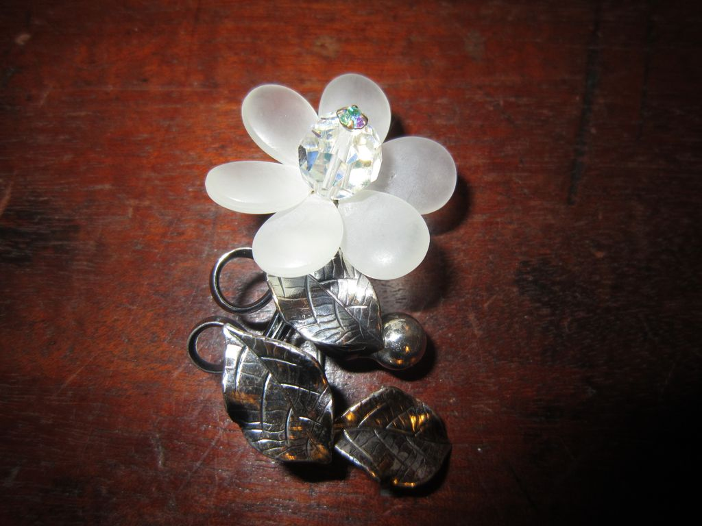 1940s Brooch -  Lucite and Silver Tone