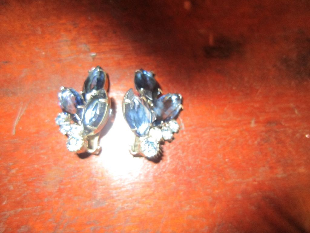 Light and Dark Blue Rhinestone Earrings