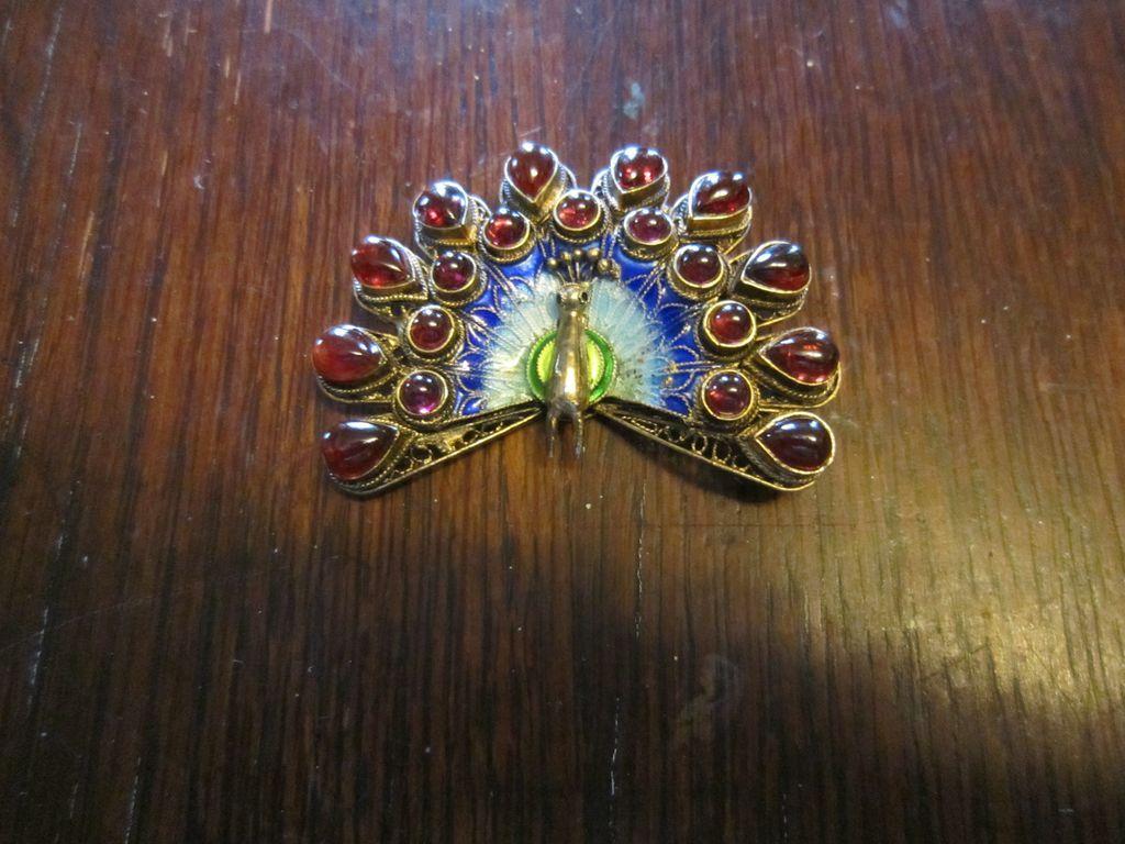 Vintage Chinese Peacock Enamel Brooch