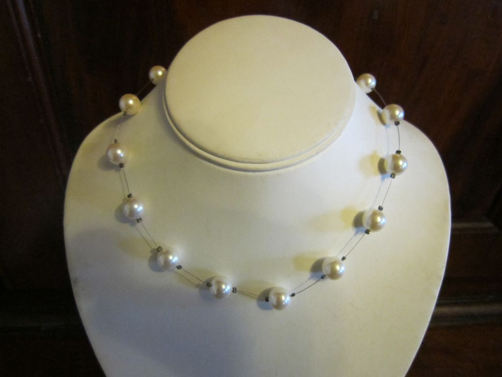 Vintage Carolee Floating  Faux Pearl Necklace