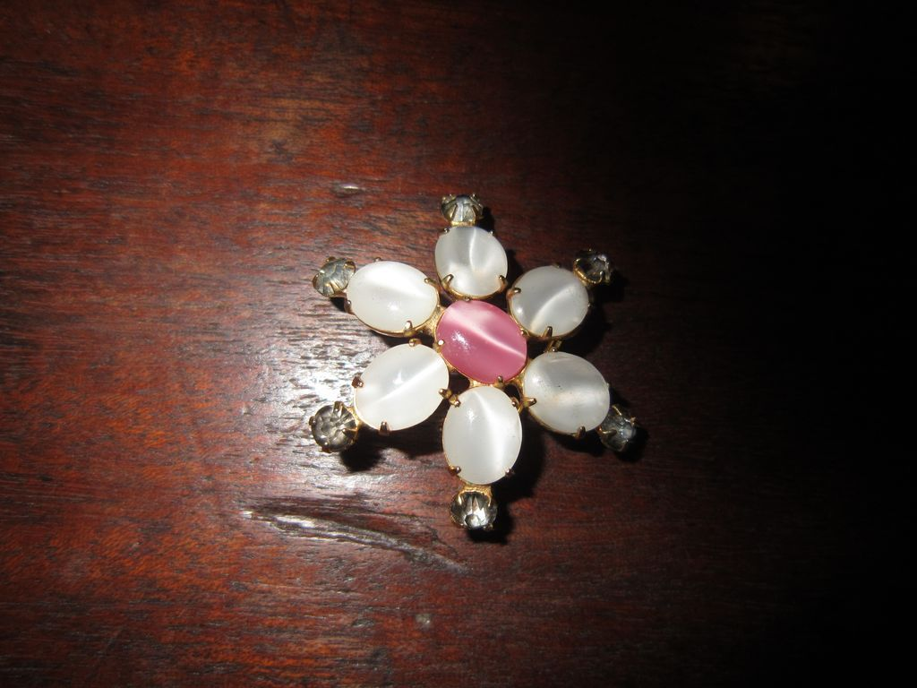 Small Brooch or Enhancer: Faux Moonstones and Pink Stones