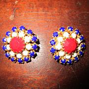 Hobe Red White and Blue Earrings