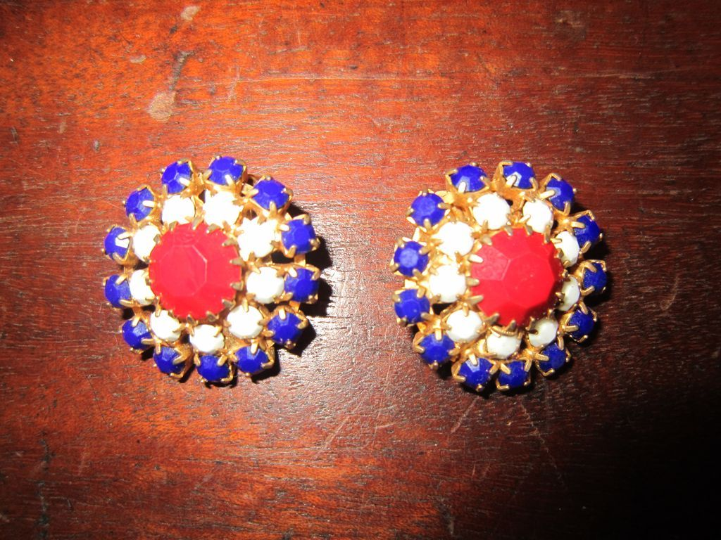 Hobe Red White and Blue Earrings