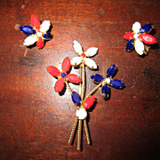 Red, White and Blue Flowers - Brooch and Earrings