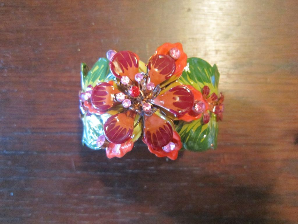 Handmade Enamel on Copper Flower Clamper
