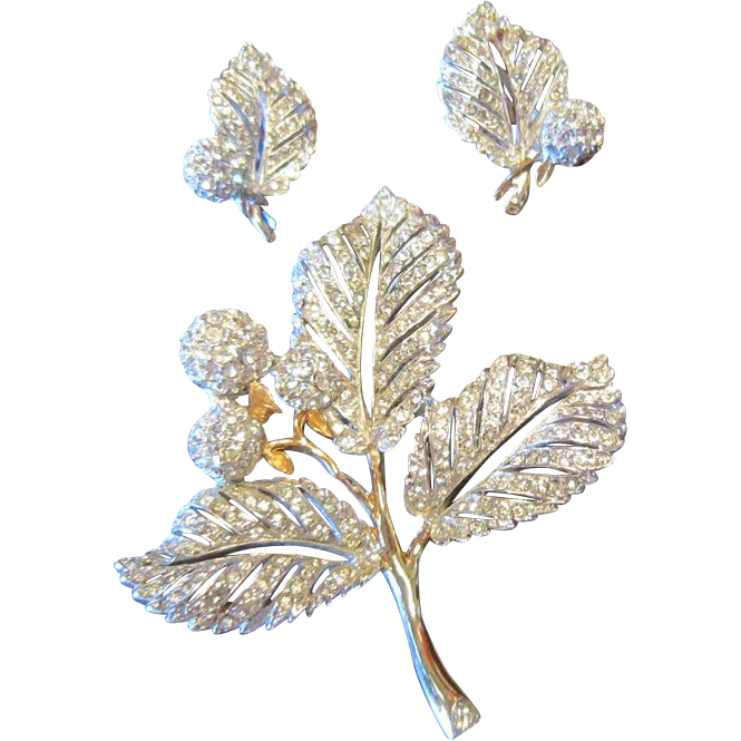 Signed Reja  Hawthorn Leaves and Pomes - Brooch and Earrings