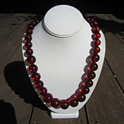 Translucent  Cherry Amber Bakelite Necklace