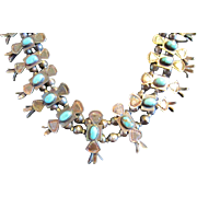 1920-1930 Bow Tie Squash Turquoise Necklace - 900/1000 Silver