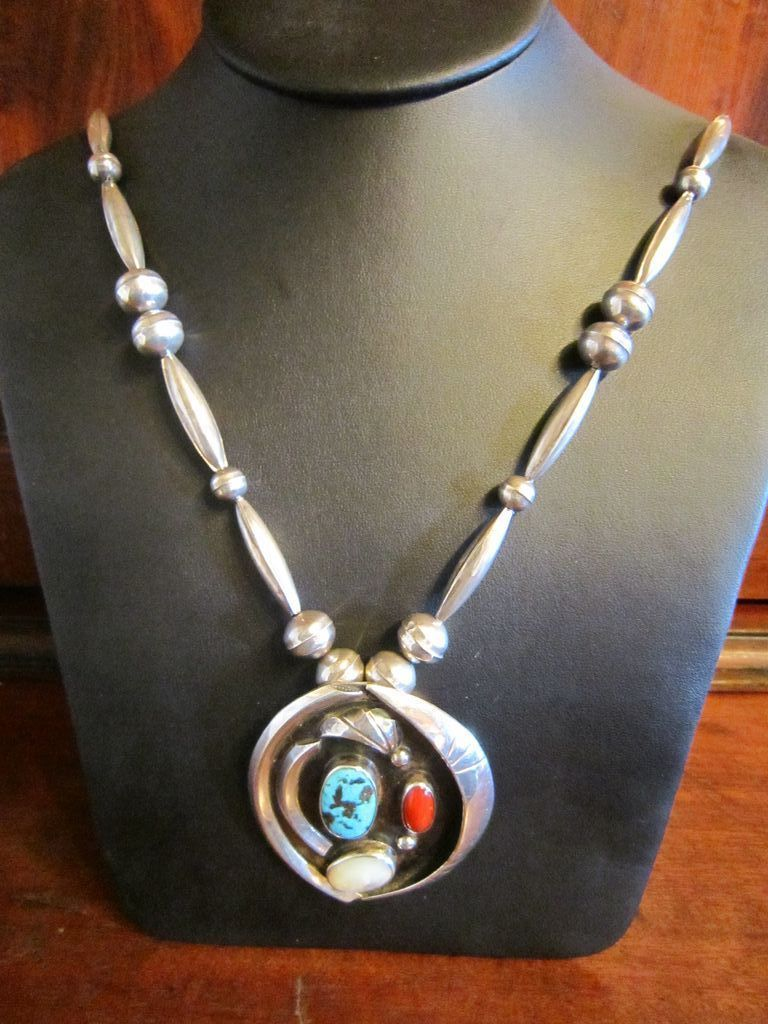 Navajo Large Sterling Bench Bead Necklace and Pendant