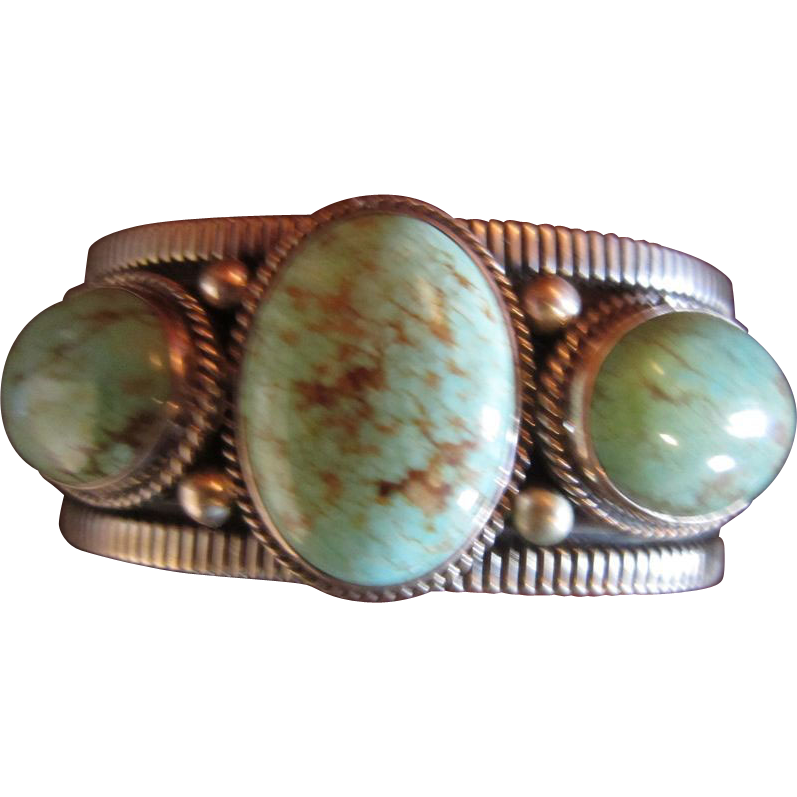 Andy Cadman Number 8 Mine Turquoise Sterling Bracelet
