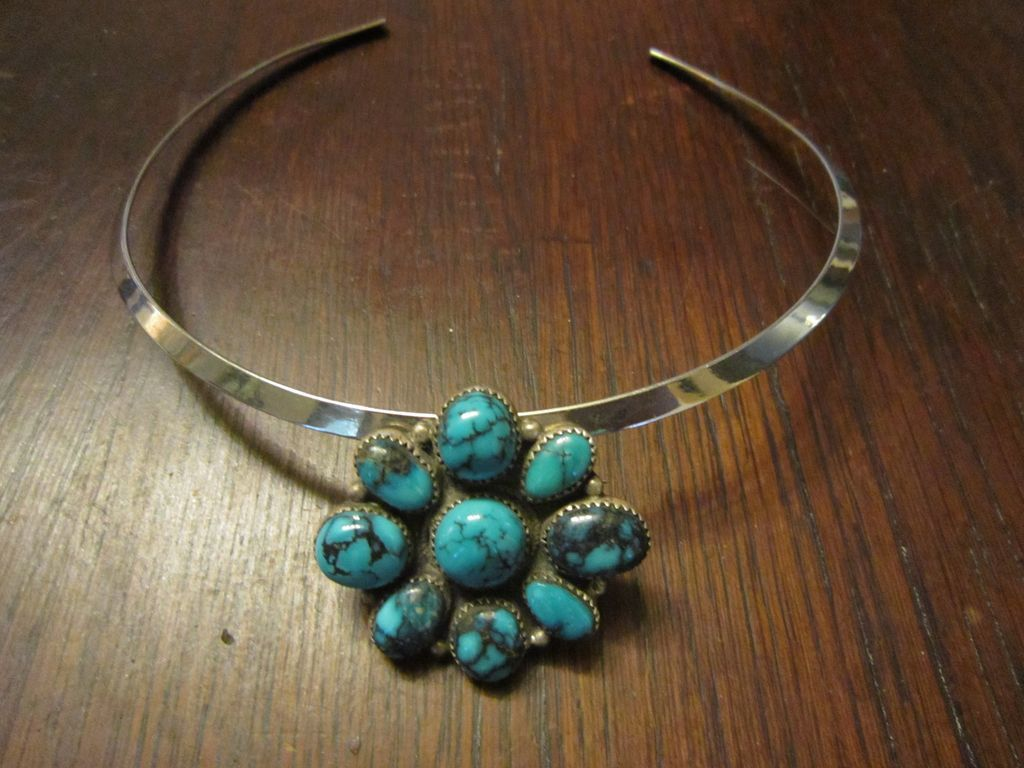 Vintage Blue Gem Turquoise Sterling Sterling Collar with Brooch/Pendant