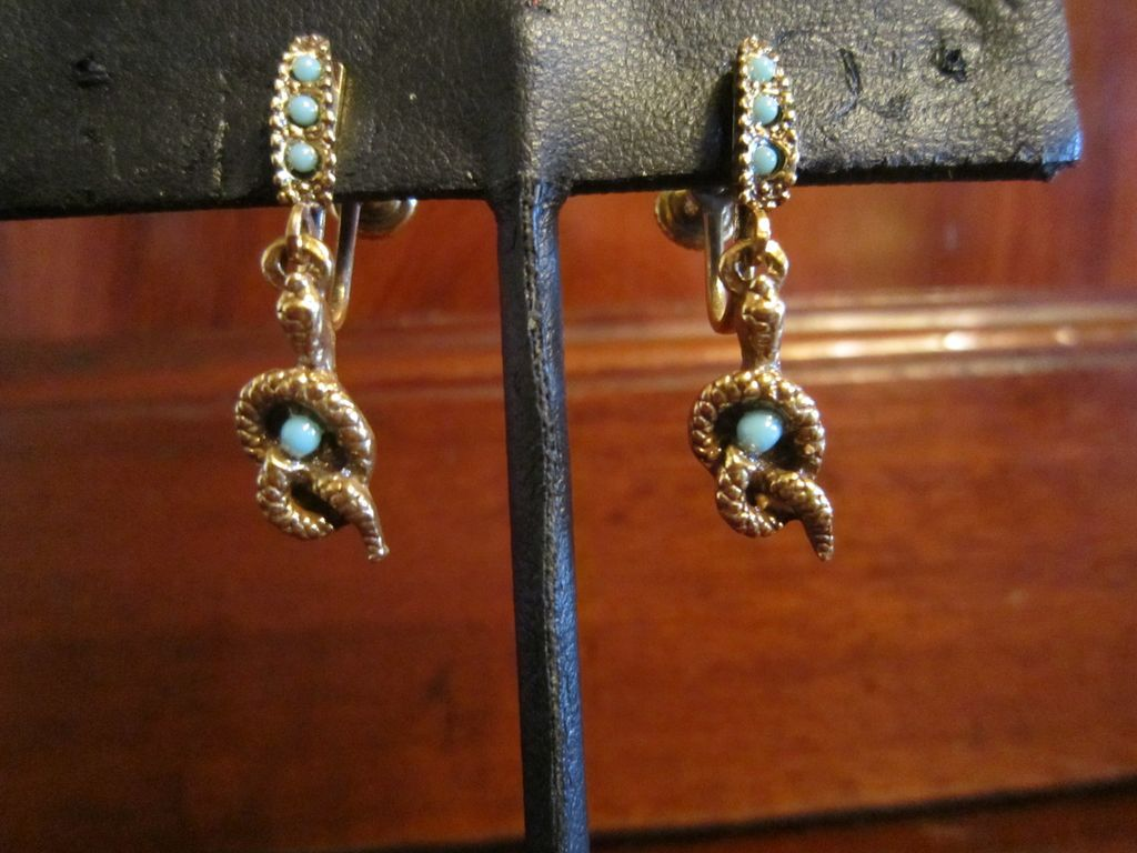 Snake Earrings Gold Tone and Faux Turquoise