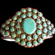 Dean Brown Turquoise Sterling Cluster Bracelet