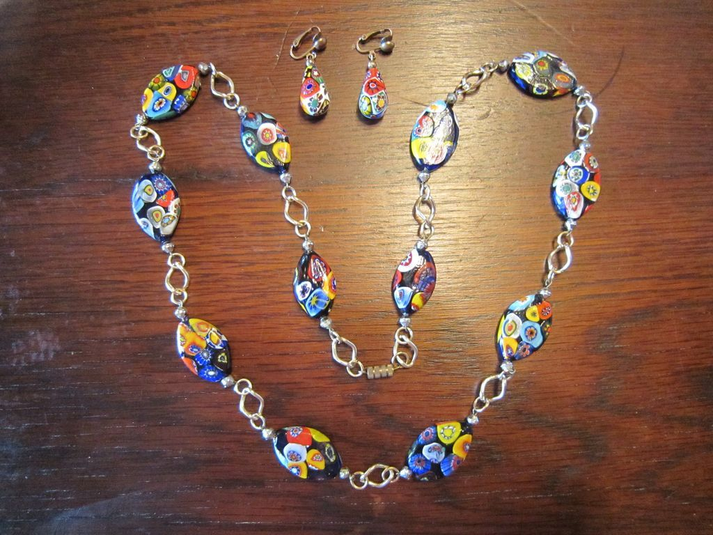 Venetian Glass Necklace and Earrings - Mille Fiori