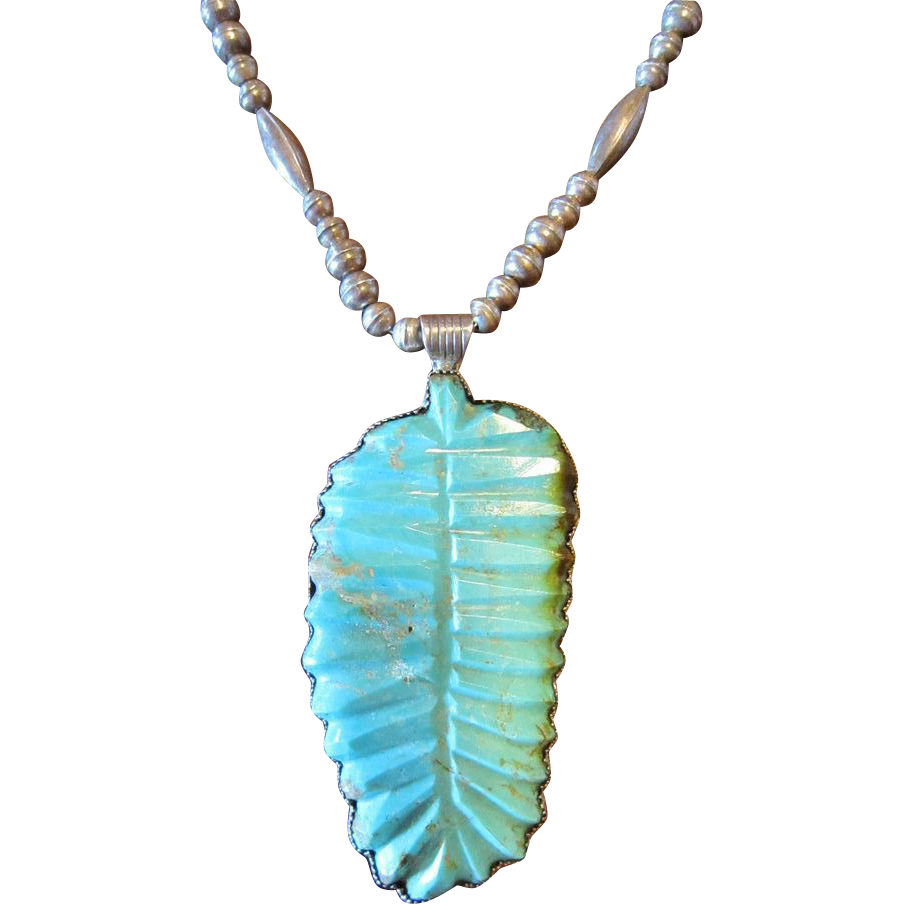 Carved Turquoise Pendant with Bench Bead Necklace