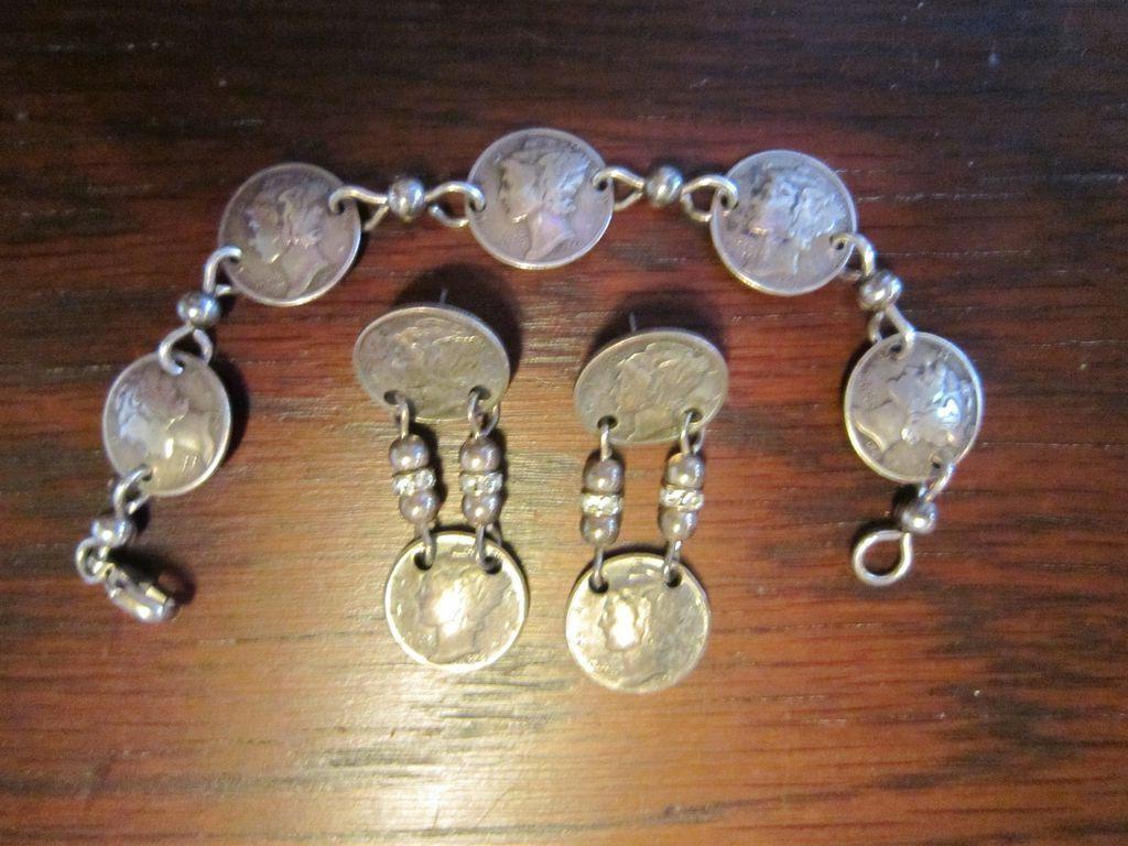 Mercury Dime Bracelet and Earrings