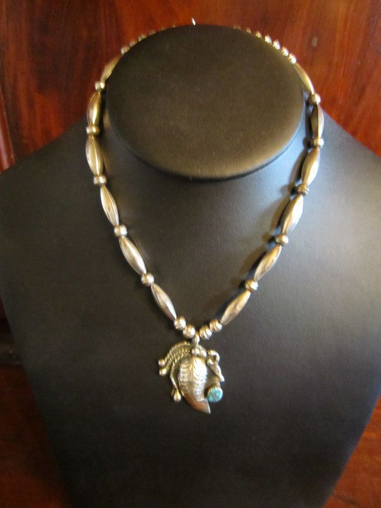 Navajo Sterling Hand Made Beads Necklace  with Turquoise Pendant