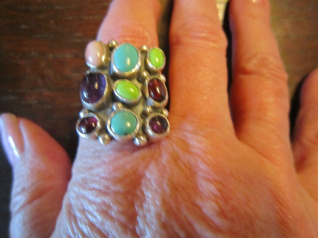Nakai 9 Stone Sterling Ring with Turquoise and Gems - Navajo