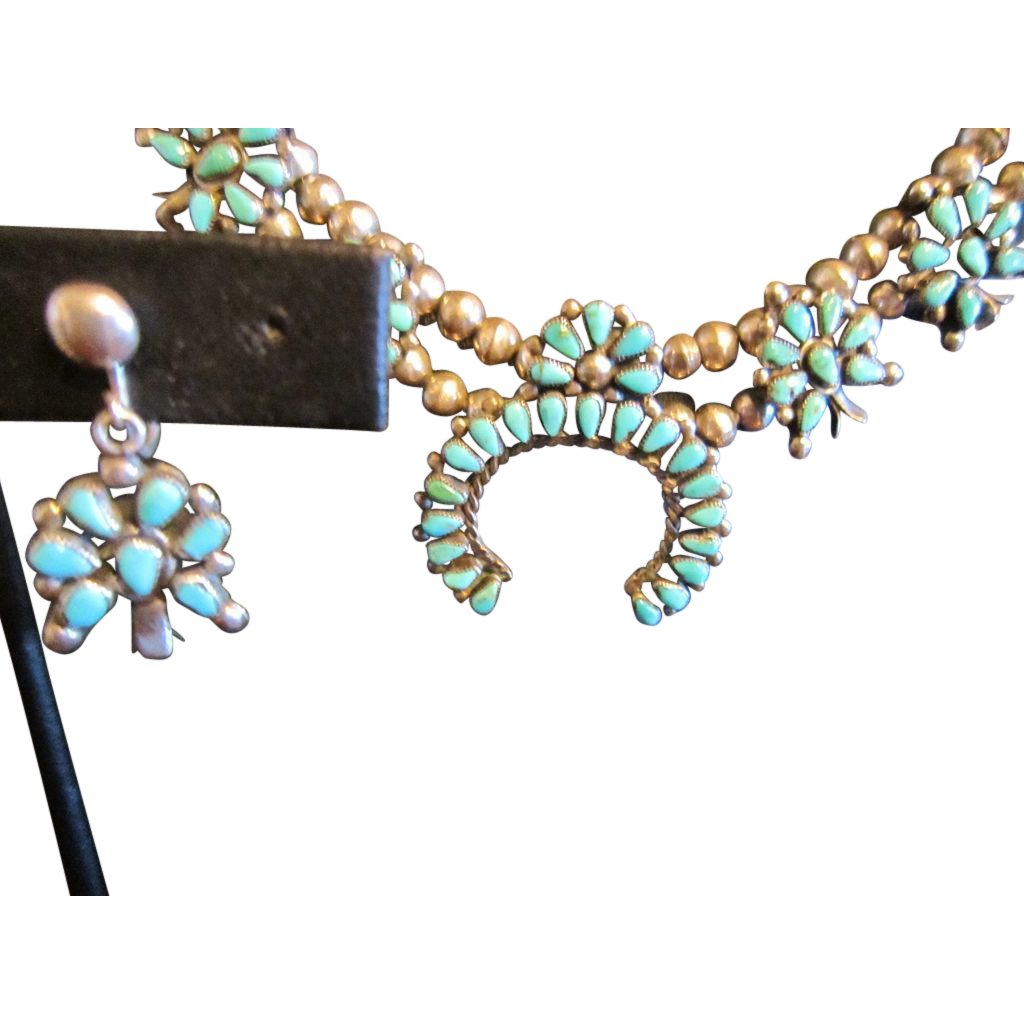 SOLD: Zuni Petit Point Squash Sterling Necklace  - Earrings Not Available