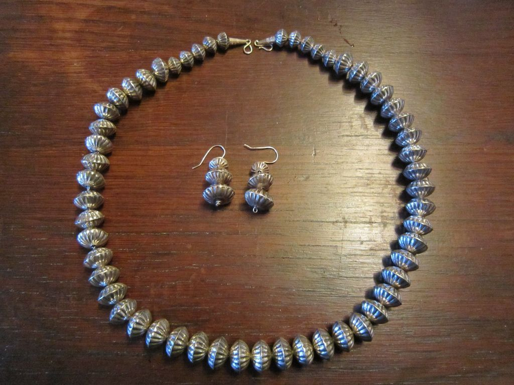 Navajo Large Fluted Sterling Bead Necklace and Earrings