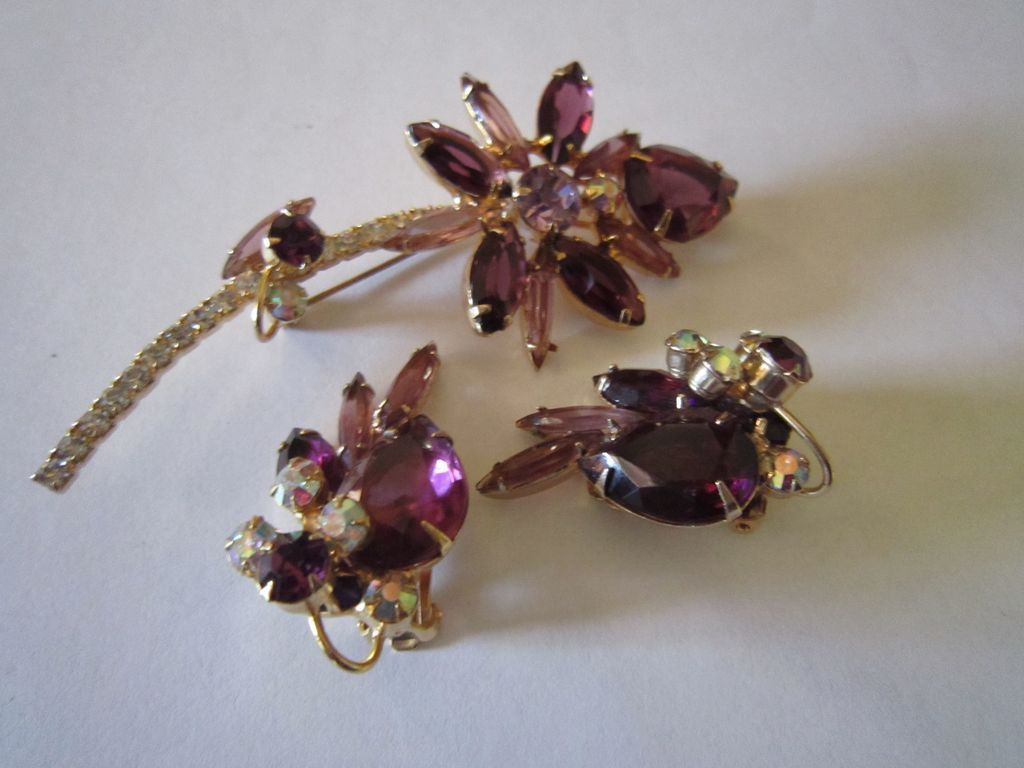 Schreiner Amethyst Flower Brooch and Earrings