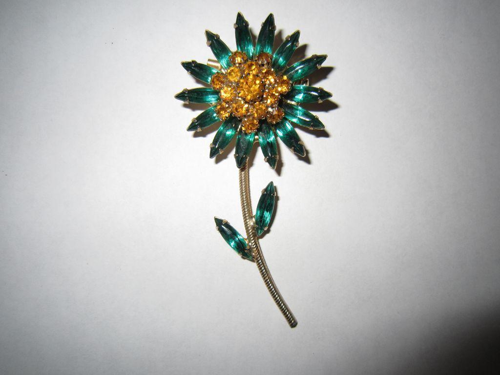 Schreiner Style Green Rhinestone Flower Brooch
