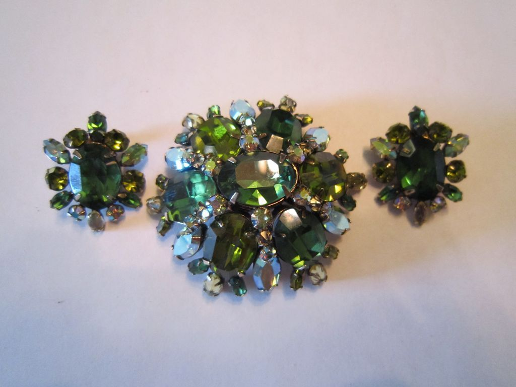 SALE was $525: Schreiner Large Dome Brooch and Earrings