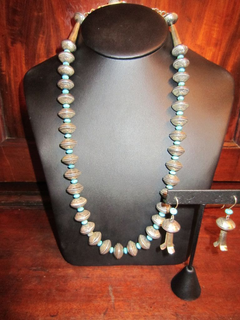 Navajo Mercury Dime Necklace and Squash Blossom Earrings