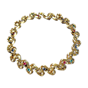 Swarovski Signed Gold Tone Necklace - Rhinestones