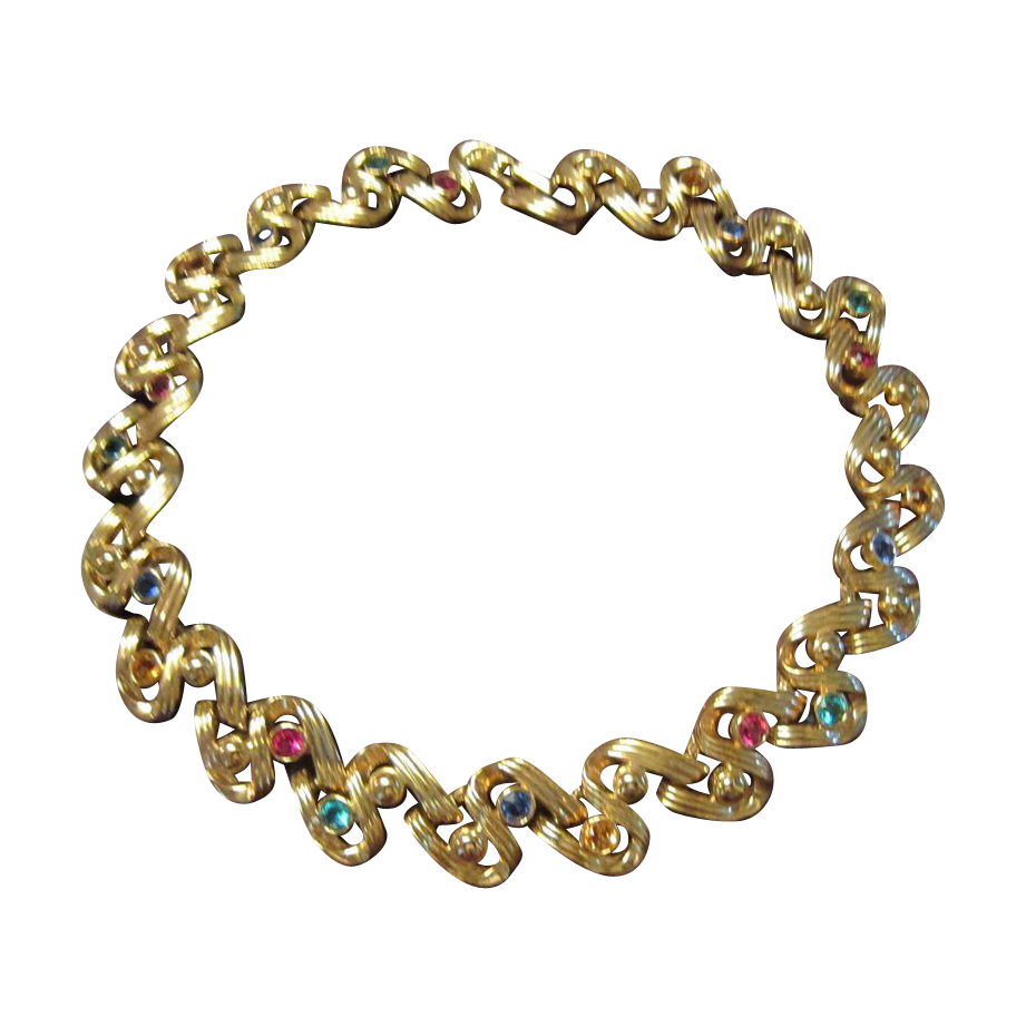Swarovski Signed Gold Tone Necklace - Rhinestones