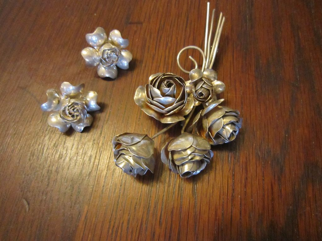 Coro Sterling Rose Brooch with Earrings