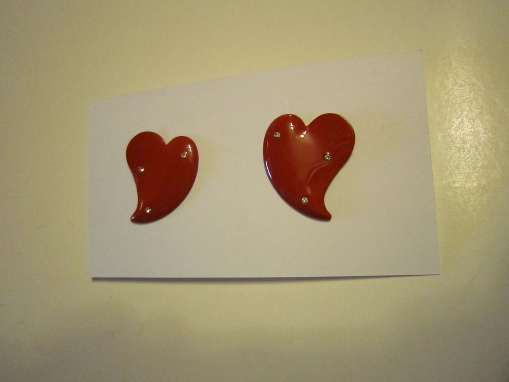 Red Enamel Heart Earrings with Rhinestones