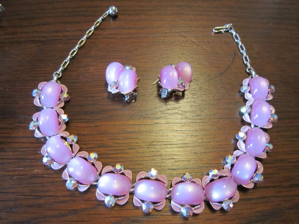 Lisner Pink Moonglow Necklace and Earrings
