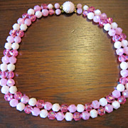 West Germany 2 Strand Pink Faceted Bead Necklace