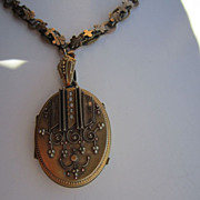 Victorian Book Chain and Locket Necklace