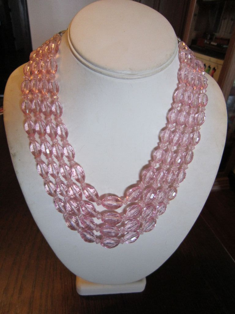 Soft Pink 4 Strand  Faceted Bead Necklace - Germany