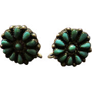 Old Zuni Turquoise Flower Earrings Sterling