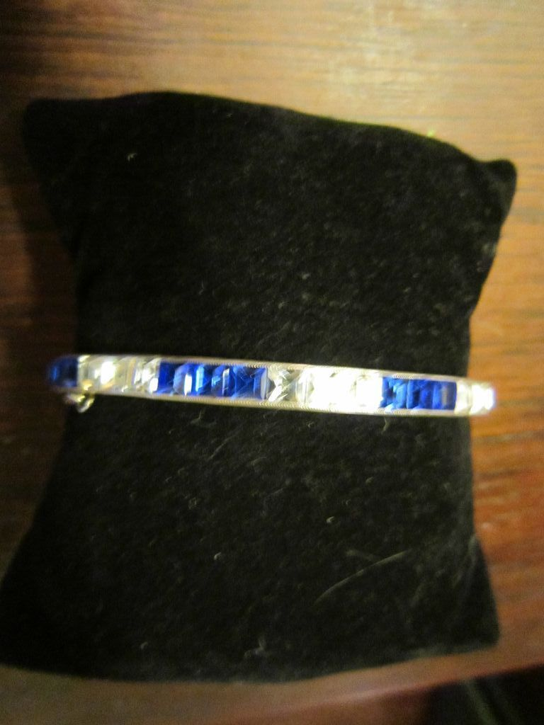 Art Deco Sterling and Square Rhinestones Bangle Bracelet