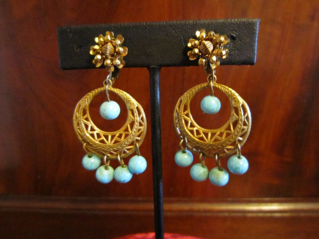 Miriam Haskell Dangle Earrings With Faux Turquoise Beads
