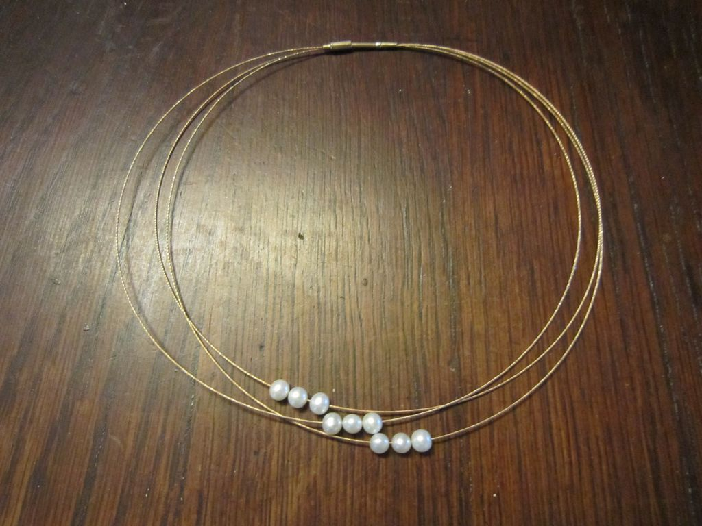 3 Strand 14K YG  Ring Necklace, 9 Cultured Akoya Pearls
