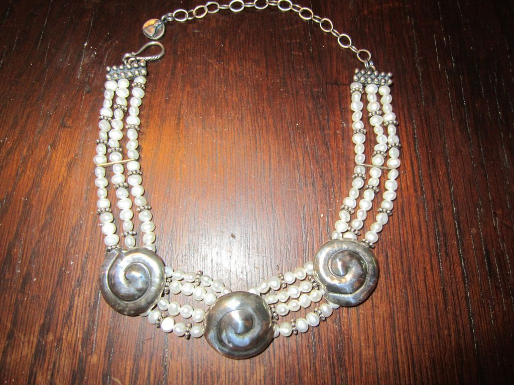 Mummy's Bundle Freshwater Pearls and Silver Plate Necklace