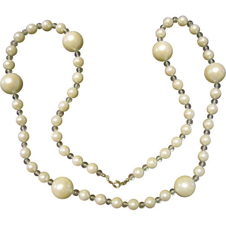 Trifari Faux Pearls and Lucite Necklace