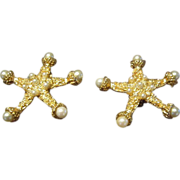 Kenneth J. Lane Grand Earrings with Faux Pearls