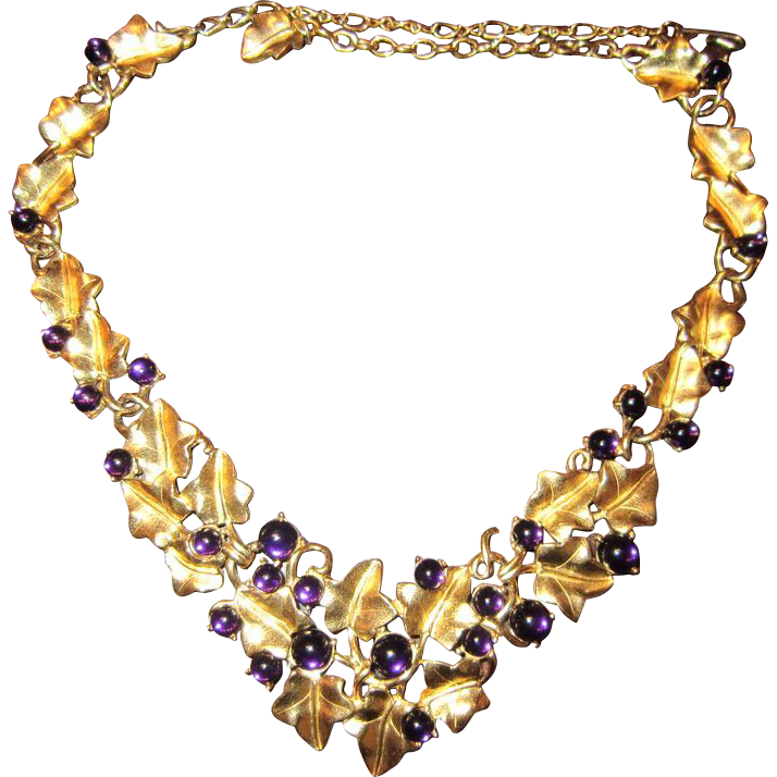 Kunio Matsumoto Grape Necklace and Earrings - Trifari