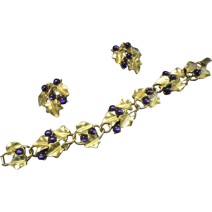 Kunio Matsumoto Grapes Bracelet and Earrings