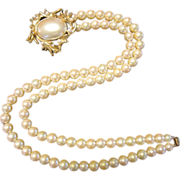 Trifari 2 Strand Faux Pearls with Decorative Clasp