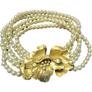 Trifari 5 Strand Faux Pearl Bracelet, Gold Tone Flower Clasp