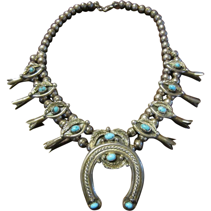 Navajo Turquoise Squash Blossom Necklace - Sterling